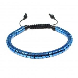 Bratara Blue Metallic Twist, pietre sintetice Hematite