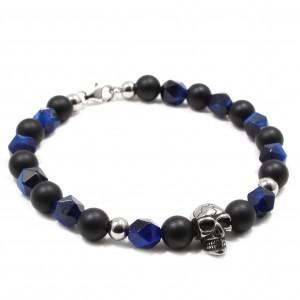 Bratara Skull Blue Tiger Eye, pietre naturale Agate si Ochi de tigru albastru fatetat