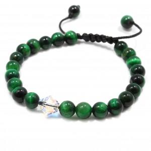 Bratara Swarovski Green Tiger Eye, pietre naturale Ochi de Tigru verde