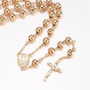 Lant Rozariu Goldean Beads, Otel inoxidabil,  64cm, bile 6 mm