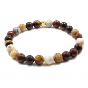 Bratara Jefferson, pietre naturale Crazy Agate, Tiger Eye, Blood Stone, Brecciated Jasper