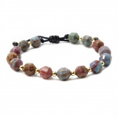 Bratara Prinos, pietre naturale semipretioase Red Corundum Ruby & Sapphire si bilute din Aur 14k
