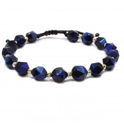 Bratara Madeira, pietre naturale Ochi de Tigru blue si bilute din Aur 14k 3mm
